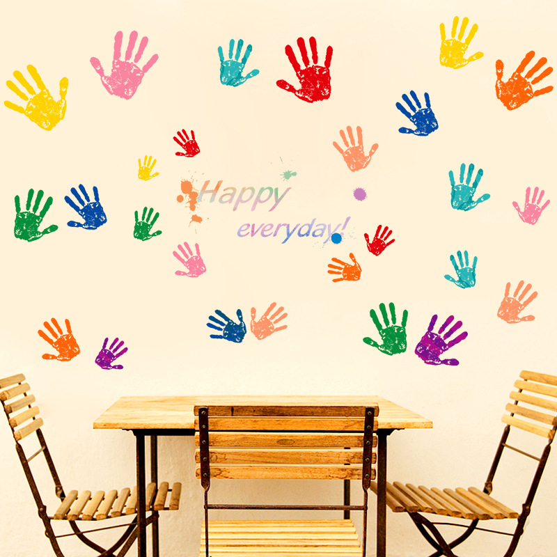 Little Big Hand Print Wall Sticker Happy Every Day Kids Room vinilos paredes Creative Art Mural Bed Background Home Decor-in Wall Stickers from Home ...  sc 1 st  AliExpress.com & Little Big Hand Print Wall Sticker Happy Every Day Kids Room vinilos ...
