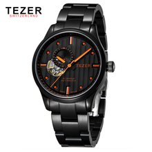 Free Shipping TEZER Brand Men Hombre Hollow Tourbillon Black Sapphire Stainless Waterproof Auto Calendar Mechanical Watch