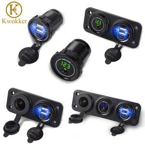 Updated 12V-24V Dual USB Charger + Cigarette Lighter +Voltmeter Car USB Socket with Independent On/Off 2.1+2.1A Car Fast Charger(China)