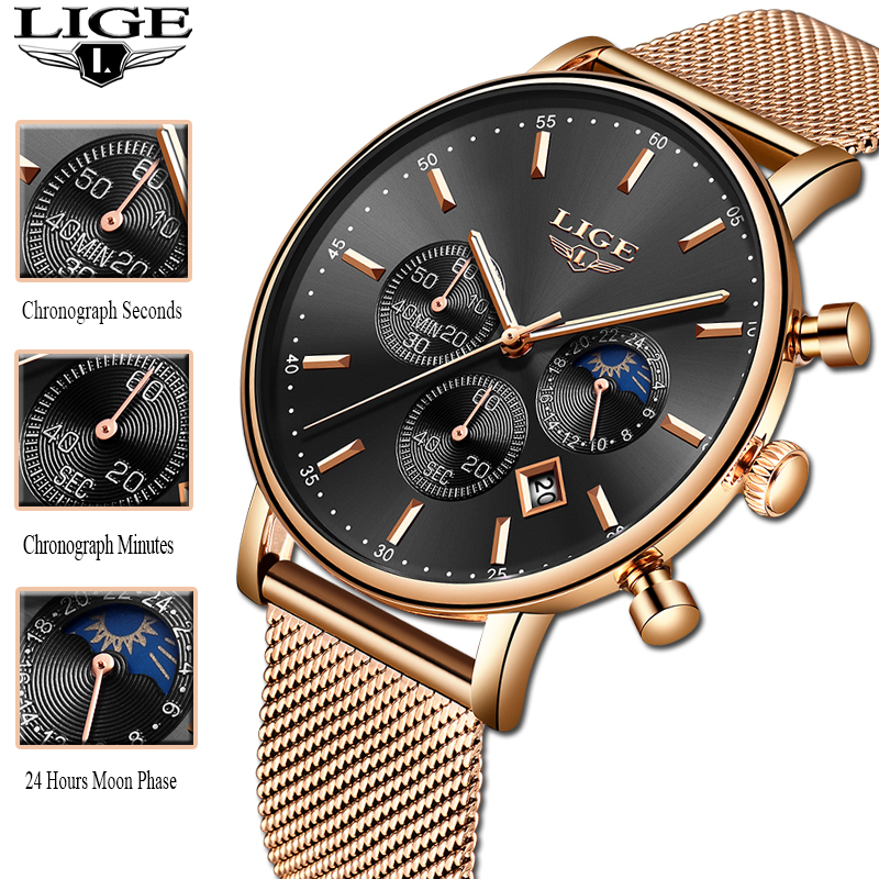 2019 New Women Gift Clock LIGE Fashion Brand Quartz Wristwatch Ladies Luxury Rose Gold Watch Female Watch Women Relogio Feminino
