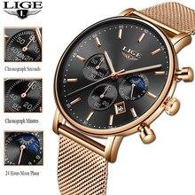 Часы наручные LIGE женские кварцевые, брендовые Роскошные, с розовым золотом, подарок для женщин, 2020