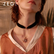 ZEGL black velvet pendant choker necklace for women clavicle chain simple short collar neck jewelry(China)