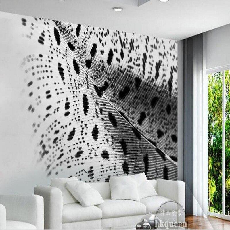 Beibehang Di Grandi Dimensioni Personalizzato-scala Murales Semplice Moda In Bianco E Nero Della Piuma Del Pavone Ali Di Tre-dimensionale Della Parete Carta Da Parati