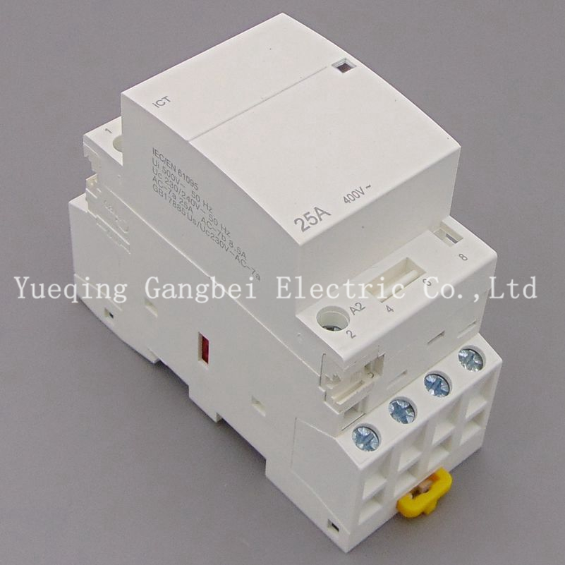 iCT 4P 25A 4NO 220V/230V 50/60HZ Din rail Household ac contactor 4p 115a magnetic ac contactor 4no lc1 f115004 power contactor