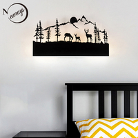 Simple art deco metal black wall lamp LED modern painted night light with 6 styles for bedroom living room bathroom hotel shop