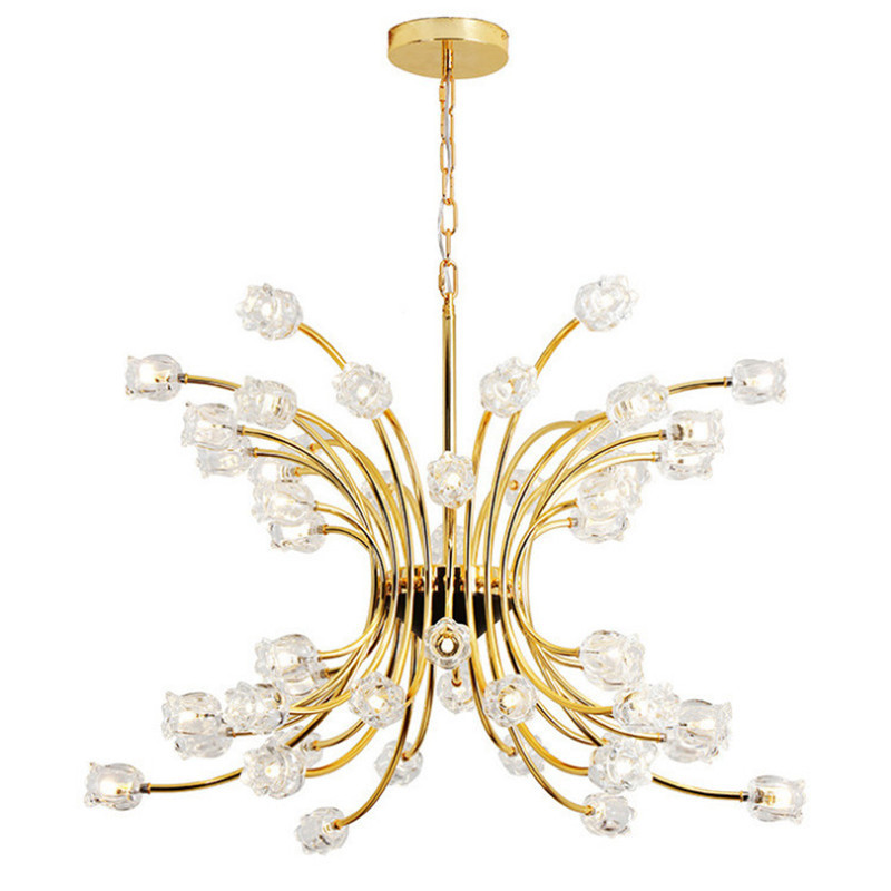 Post-modern Luxurious Gold Crystal Led Pendant Light for Living Room Dining Room Bedroom 32/48 Heads 80-265V 1517 modern fashion luxurious rectangle k9 crystal led e14 e12 6 heads pendant light for living room dining room bar deco 2239