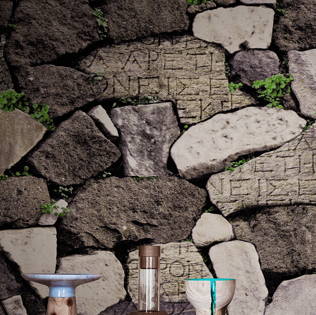 3D Retro Rustic Style Stone Wallpaper PVC Waterproof Background Roll Rock Natural Living