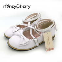 Lolita shoes women flats low round with cross straps bow cute girls princess tea party shoes students lovely shoes size 34 41