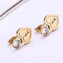 Beautiful Crystal CZ Stud Earrings Women Heart Tif Key Designer Brand Jewelry Girls Stainless Steel Silver PVD Rose Gold Plated