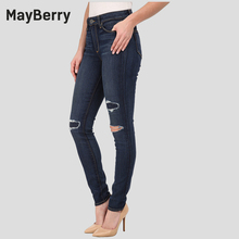 MayBerry Jeans distressed woman skinny jeans high waist patchwork hole style 98% cotton  88163