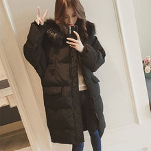 Long With Fur Hooded Thicken Warm Down Coats Women Long Sleeve Zipper Pockets Jackets Female Casual Hardy Outwears Plus Size New