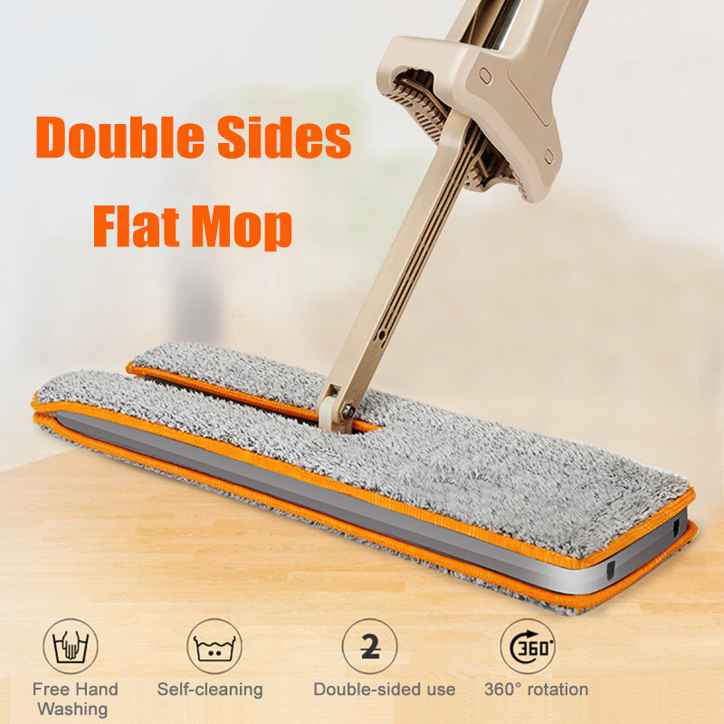 Double Sided Mop Self Wringing Flat 360 Spin Lazy Mop Floor Cleaning Hardwood Floor Kitchen DC120 image