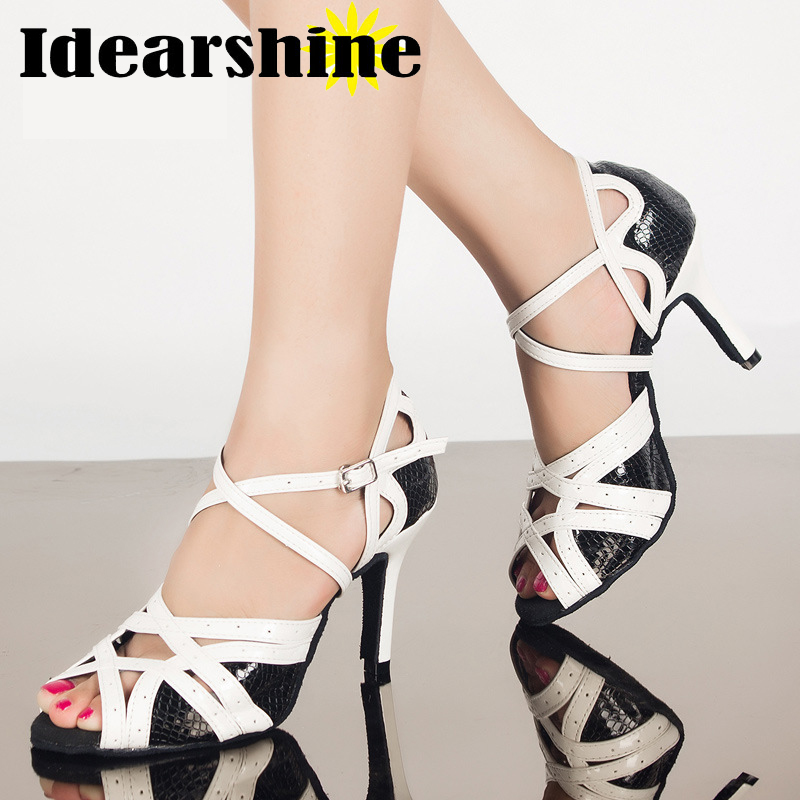 Black White Leather Thin Heels Dance Shoes Women Ballroom Dancing Shoes Narrow Foot Salsa High-Heel High Heel Height #6144
