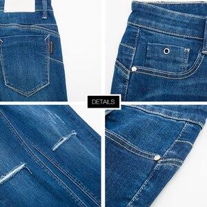 Image 5 - Metersbonwe dopasowane dżinsy dla kobiet dżinsy dziura projekt niebieski Denim ołówek spodnie do kostek wysokiej jakości rozciągliwa talia kobiety dżinsy