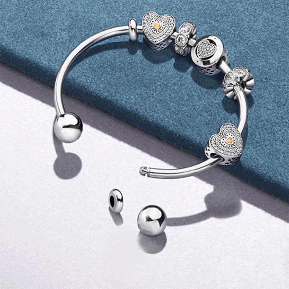 EDELL 100% 925 Silver Open Bangle Set Heart Shaped Zircon Elegant Bracelet Set personalized heart shaped bracelet
