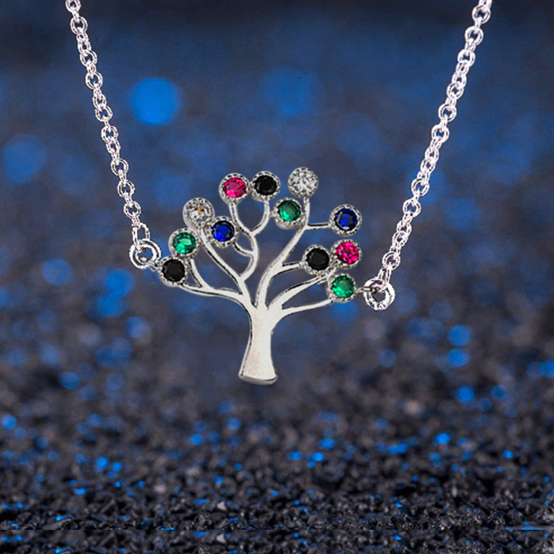 Colorful Happiness Tree Pendant Necklace Women Jewelry Fashion Bijoux CZ Zircon Crystal Chain Choker Necklaces 2020
