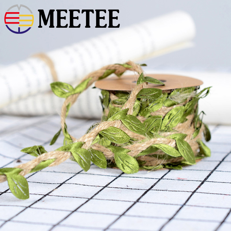 Cords 1roll Flower Leaf Jute Yarn Cord Natural Hemp Thread Rope For Wedding Gift Bouquet Packaging Diy Crafts Accessories Ky308