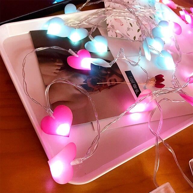 20Led Fairy Pink Blue Purple Heart Battery Operated String Light Luminaria 2m LED Decor For Christmas Garland Wedding gerlyanda