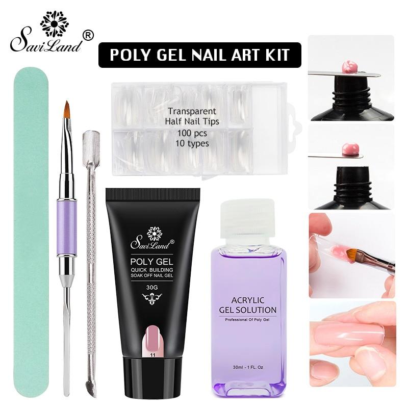 Saviland 30g Poly Gel Nails Kit 6pcs Polygel Uv Fast Builder Nail Modle Nail Art Brush Slip