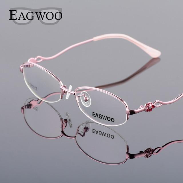 7bf1cef26a8 Pure Titanium Eyeglasses Women Half Rim Optical Frame Prescription Reading  Spectacle Female Flower Myopia Eye Glasses