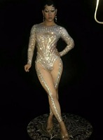 Glisten Silver Rhinestones Jumpsuit Dance Costume Bling Women's Outfit Diamonds Bodysuit Nightclub Rompers Female Singer Wear