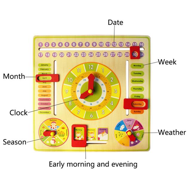 Kid's Calendar/Clock Learning Wood STEM Toy