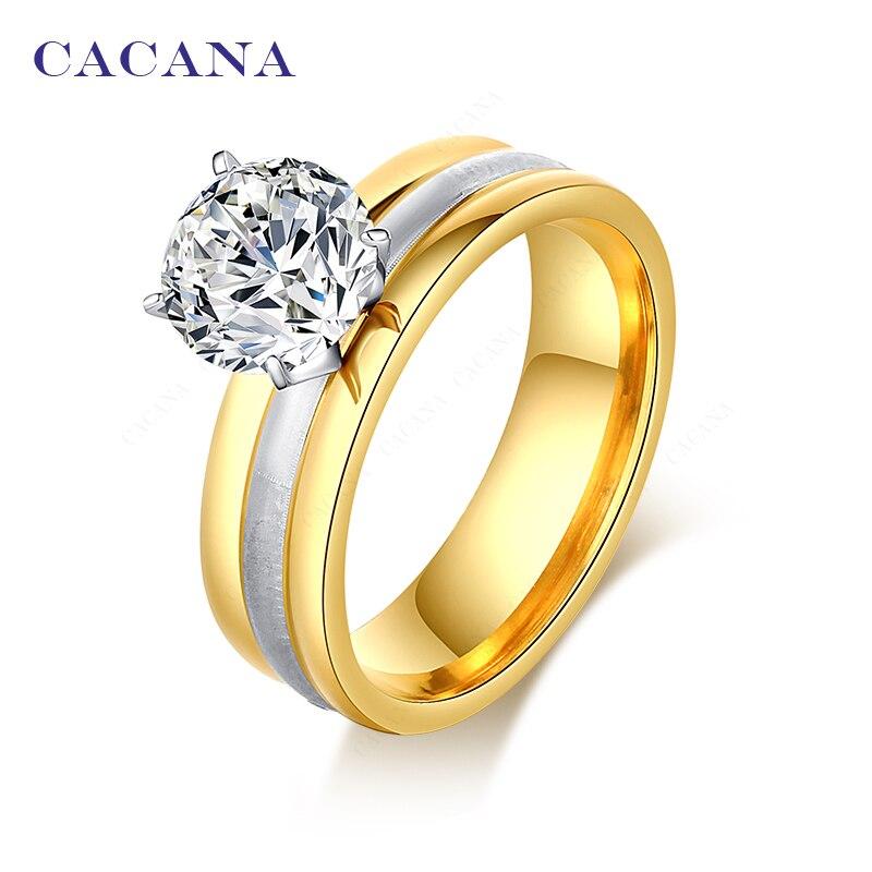 ca96bd7b0564 CACANA anillos de titanio de acero inoxidable para las mujeres moda  brillante CZ joyería al por mayor NO.