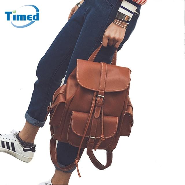 01b8143833a 2019 Europa estilo de moda de las mujeres mochilas de cuero Retro mochila  nueva estilo Preppy