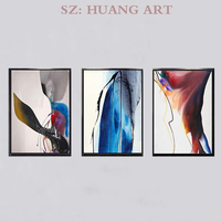 Hand painted blue to create modern abstract art mural colorful 3 p combination oil painting sofa hotel restaurant decorated hall