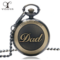 The Greatest DAD Fashion Father's Day Best Gift Quartz Pocket Watch Analog White Dial with Roman Numerals Pendant Watch Gift Bag