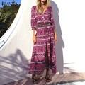 Venta caliente 2017 zanzea mujeres dress vintage impreso vestidos de playa largo maxi dress sexy cuello en v flojo ocasional de alta de split vestidos