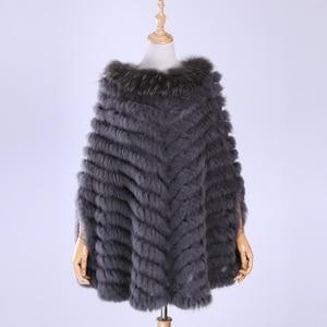 Image 2 - Jersey de lujo para mujer, Poncho de piel de mapache y conejo auténtico tejido de pieles, chal, abrigo triangular, 2020