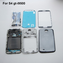 White/Black Original Full Housing Cover Case & middle frame & battery door cover & front Outer glass For Samsung Galaxy S4 i9500