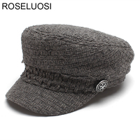 ROSELUOSI Women Vintage Military Hats 2017 Autumn Winter New Flat Top Hat For Girls Female Berets Hat Gorras