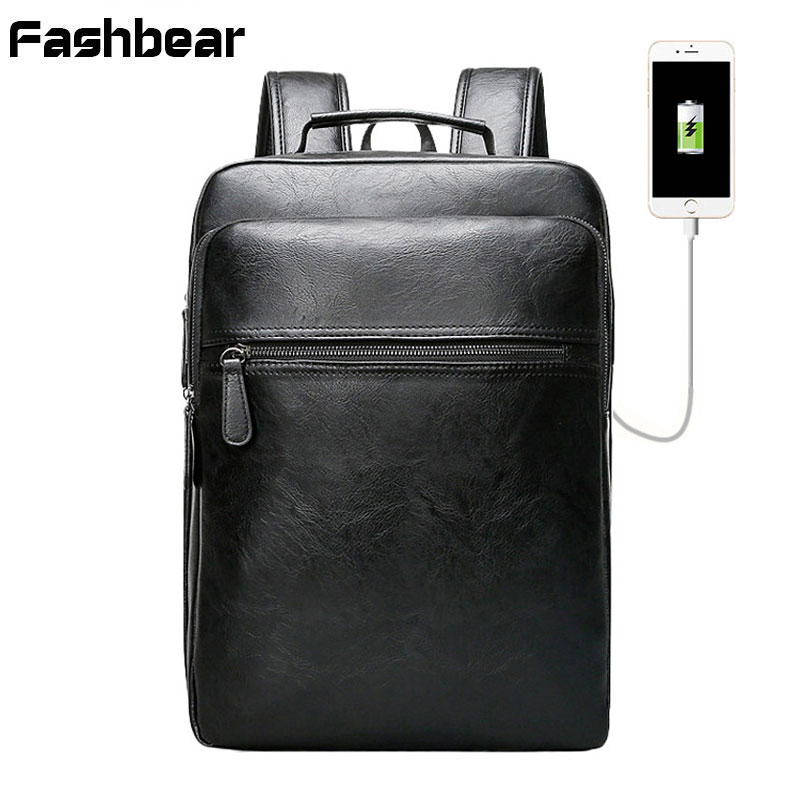 Backpack Men Fashion USB Charger Bag Large Capacity Computer Backpack 1315 Laptop PU Leather Casual Style School Bag Mochila voyjoy t 530 travel bag backpack men high capacity 15 inch laptop notebook mochila waterproof for school teenagers students