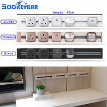 Hot Aluminum Alloy 8000W 80cm British UK Socket Tomada 3C LED Light Living Room Kitchen Plug Sockets