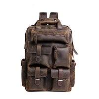 Mens Handcrafted Crazy Horse Genuine Leather Vintage Laptop Backpack Women Leather Shoulder Bag College School Backpack Large