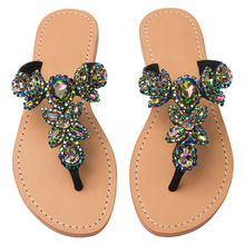 2017 Fashion Beach Sandals Women Summer Rhinestone Slippers Women's shoes Flat heel Slides Flip-flop zapatos mujer Plus size 47