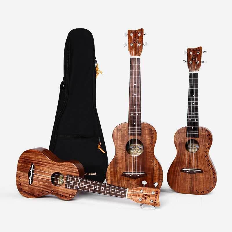 Koa Acacia Top solide ukulélé Soprano Concert ténor 21 ''23'' 26 ''ananas 4 cordes guitare Hawaii Molokai