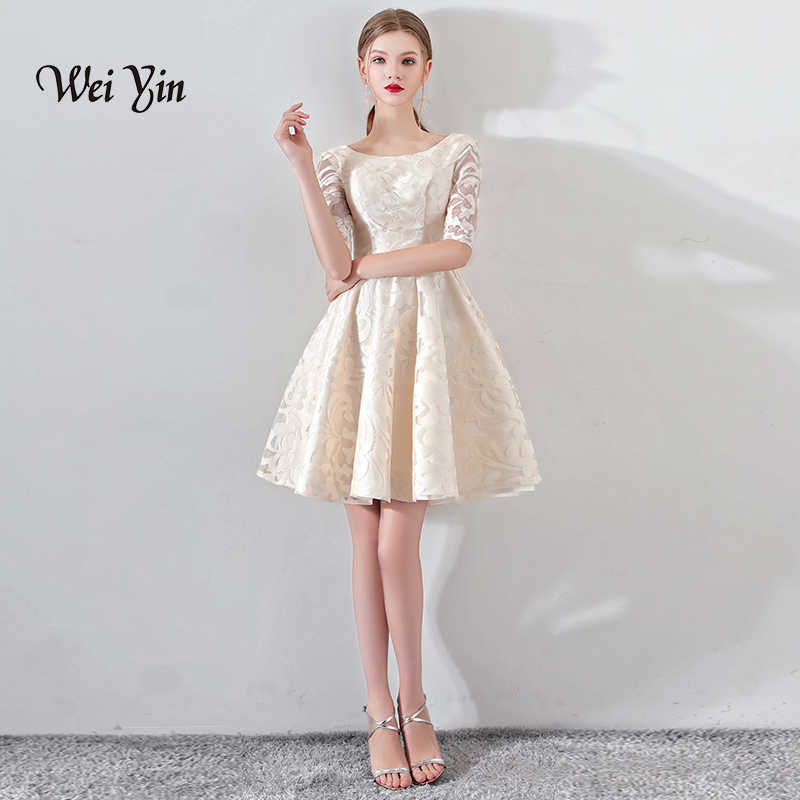 62a0ebed088 weiyin New Champagne Half Sleevelss Cocktail Dress Elegant Embroidery Mini  Length Formal Dress Party Gown WY884