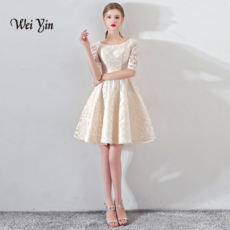 weiyin New Champagne Half Sleevelss Cocktail Dress Elegant Embroidery Mini Length Formal Dress Party Gown WY884