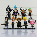 ONE PIECE Luffy Nami Chopper Robin Zoro Sanji Brook Golden Lion Shiki pvc figure dolls 9pcs/lot all black clothes cute mini toy