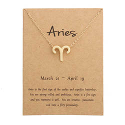 12 Созвездие подвеска ожерелье Знак зодиака ожерелье в подарок на день рождения сообщение карты для женщин Девушка
