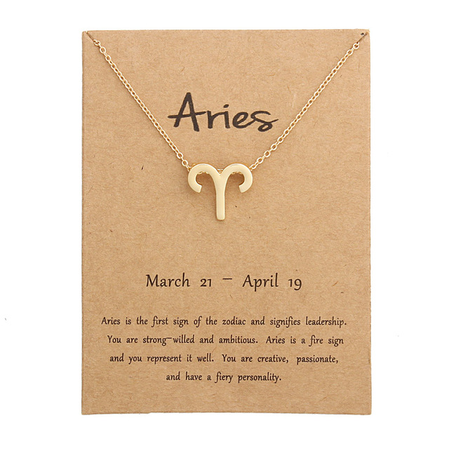 12 constelação Pingente de Colar Colar Signo Do Zodíaco Presentes de Aniversário Cartão de Mensagem para As Mulheres Menina