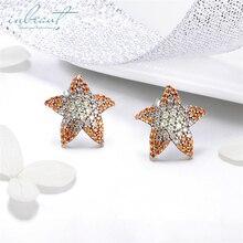 inbeaut Round CZ Starfish Stud Earrings 925 Sterling Silver Brown&White Zircon Sea Star Earrings S925 Original Women Jewelry цена