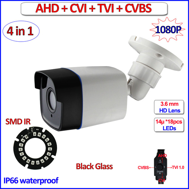 1080P HDCVI HDTVI CVBS AHD camera IP66 surveillance 4 in 1 2MP Night Vision 720P 1MP cctv camera, 3.6mm Lens, bracket, OSD