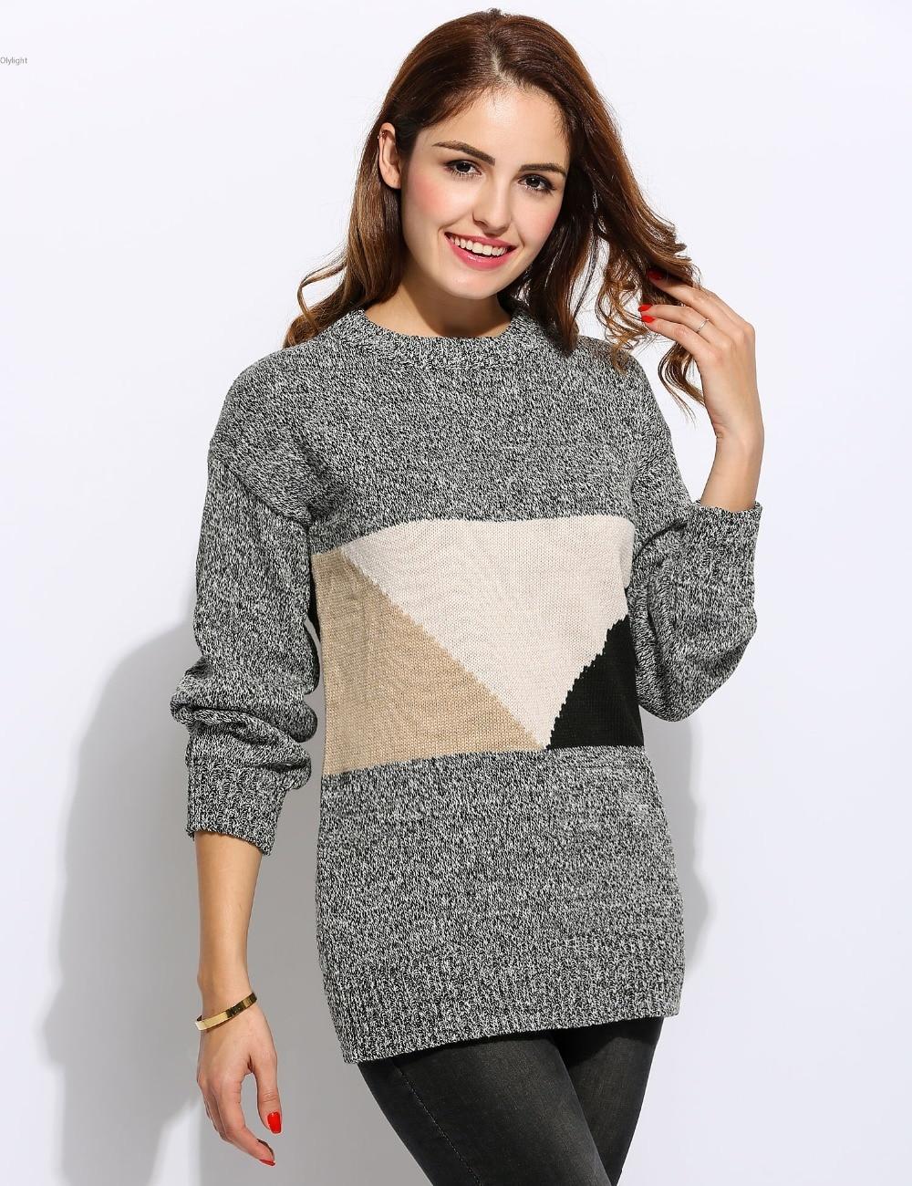 48c72c1110dd Women Casual Long Raglan Sleeve Pullover Sweater Round Neck ...