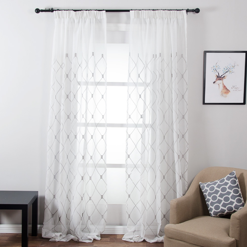 White sheer curtains bedroom - Topfinel Geometric Design Sheer Curtains Tulle Window Curtains For Kitchen Living Room Bedroom Tulle Voile Cafe Curtains White