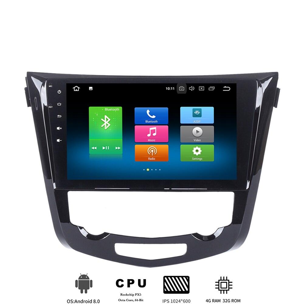 10.2 lecteur multimédia de voiture IPS Android 8.0 pour Nissan x-trail Qashqai 2014 2015 2016 2017 Autoradio GPS 8-Core 4Gb + 32Gb wifi