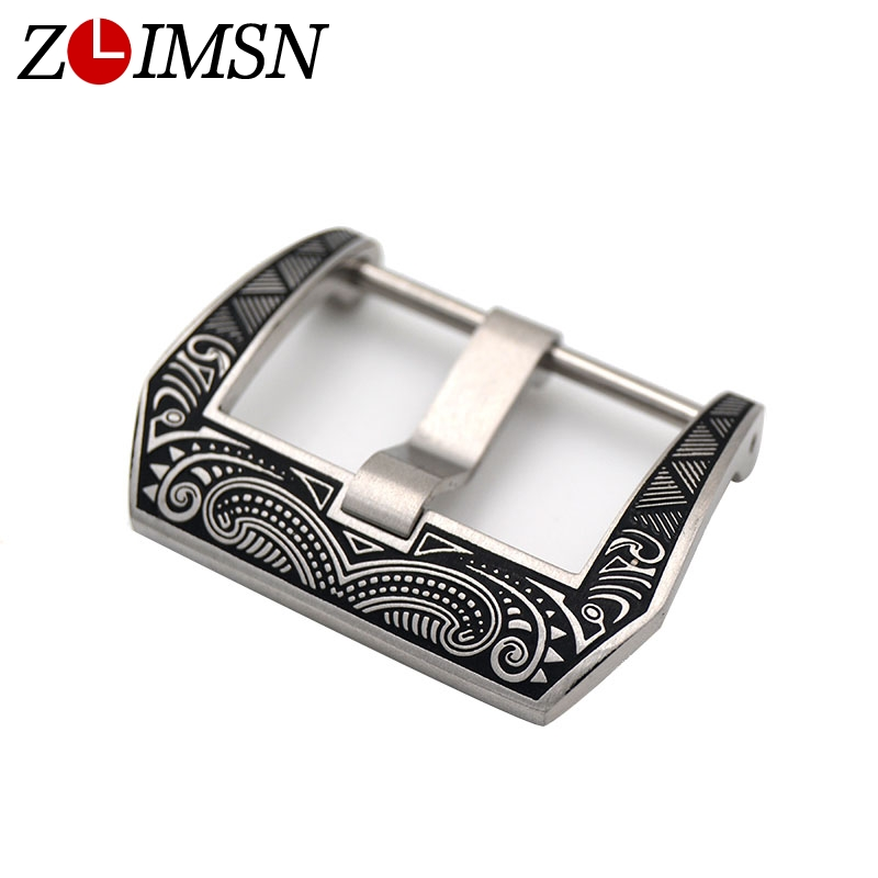 ZLIMSN Stainless Steel Buckle Carve Patterns Watch Buckles 18 20 22 24 26mm Clasp for Men Women Watchbands for Panerai